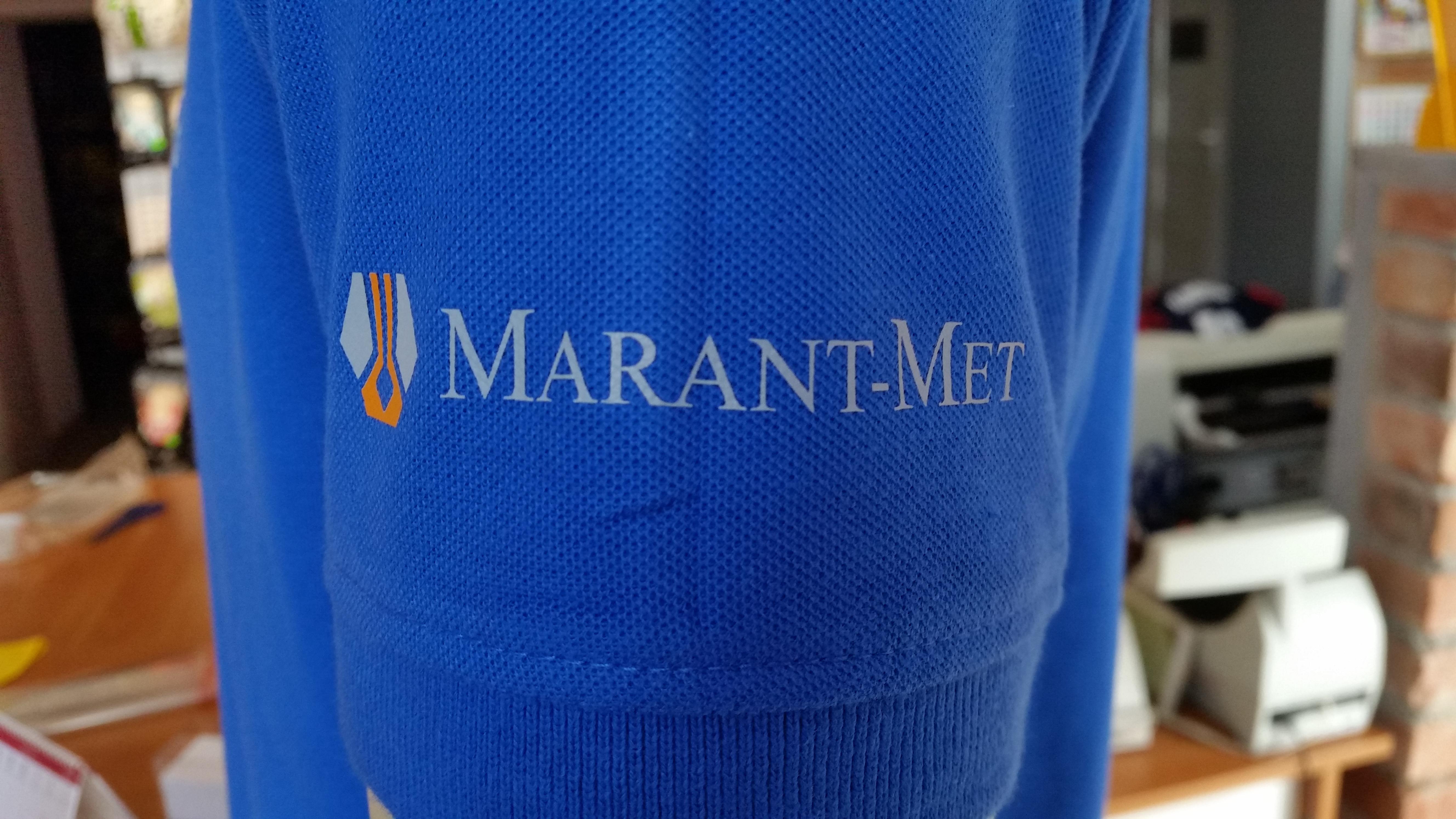 nadruk małego logo dwukolorowego na rękawku koszulki