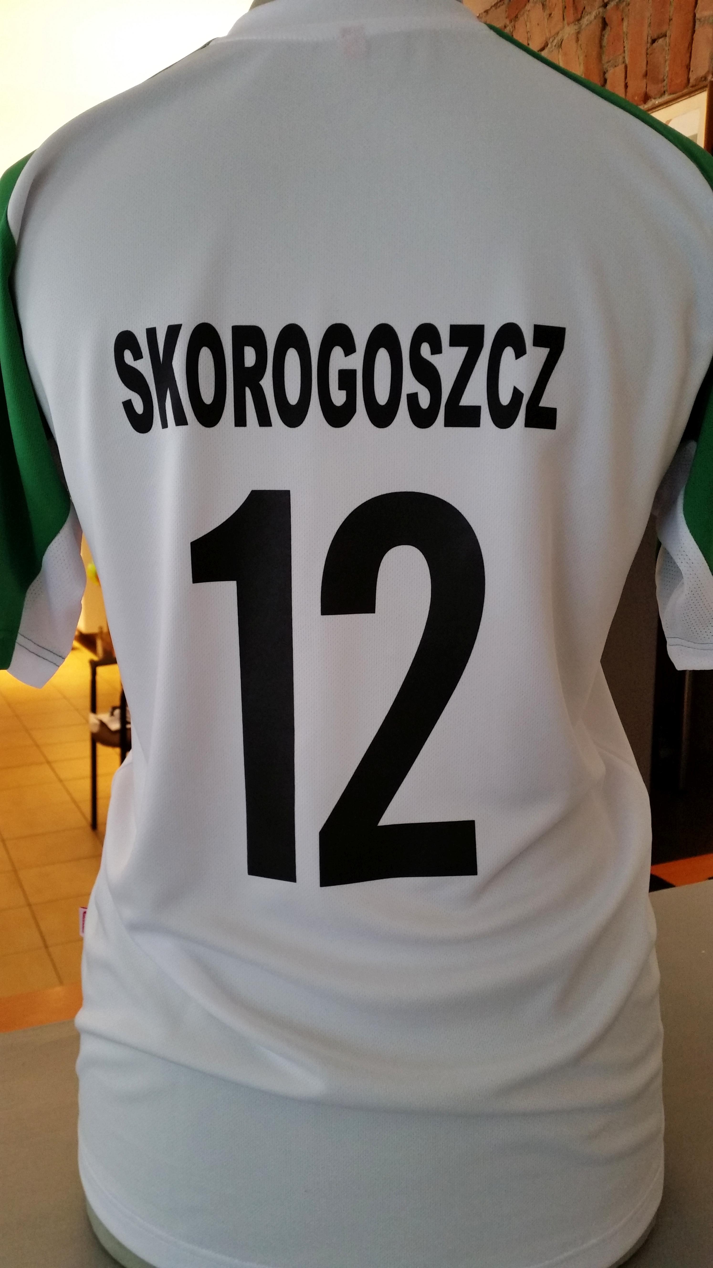 numer promocyjny i napis na tyle pleców koszulki sportowej