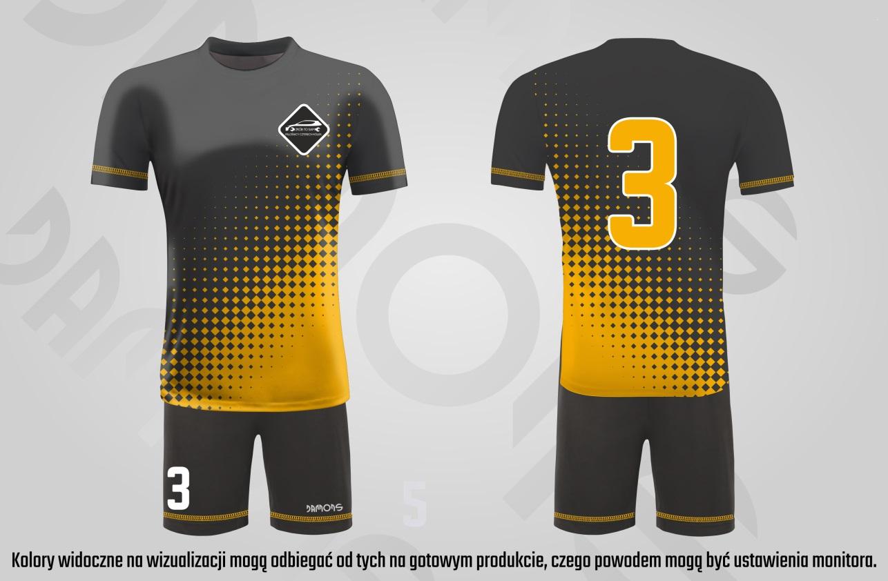 Stroje piłkarskie Alfa czarno-żółte, numer żółty, logo Cztery Kółka