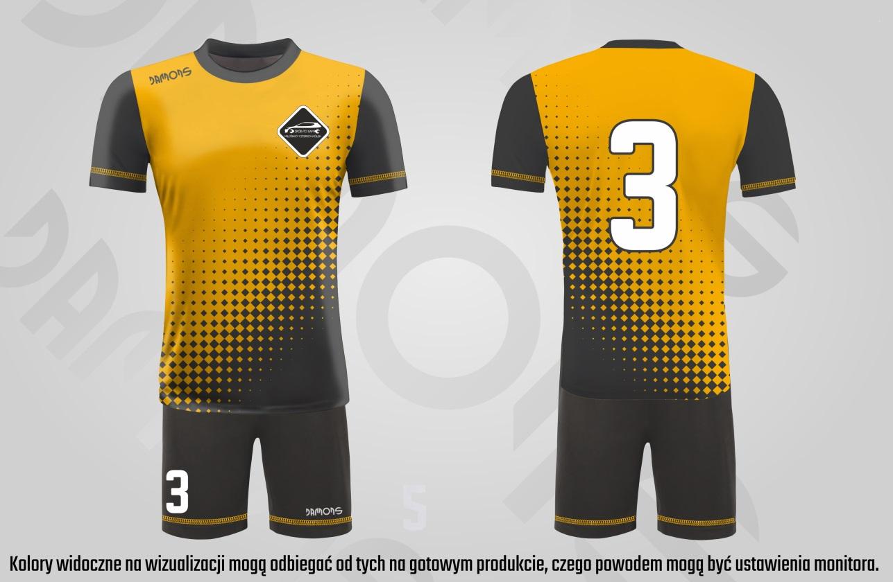 Stroje piłkarskie Alfa żółto czarne, biały numer, logo Cztery Kółka