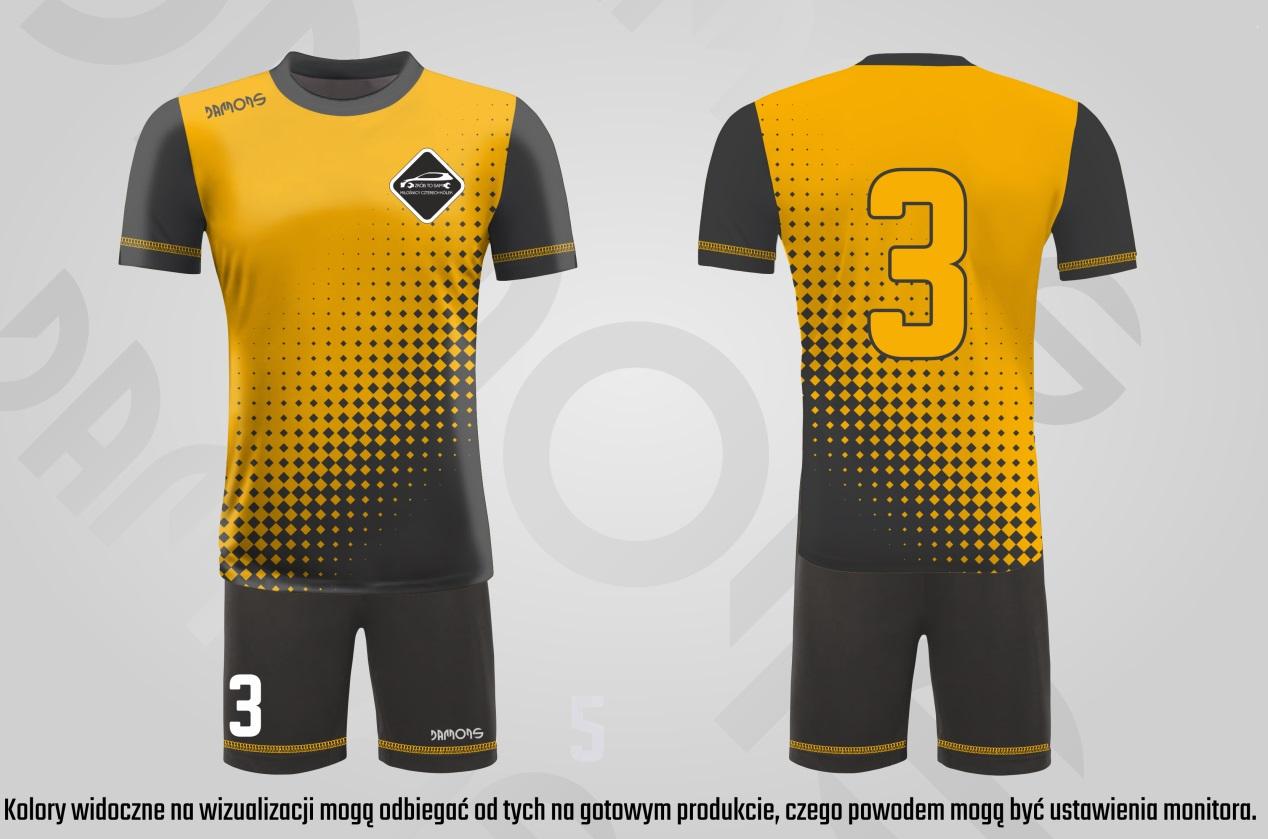 Stroje piłkarskie Alfa żółto-czarne, żółty numer, logo Cztery Kółka