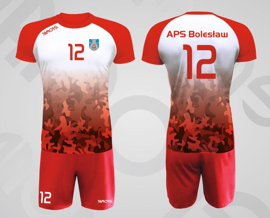 Stroje siatkarskie męskie czerwono-biały Defender P3 APS Bolesław