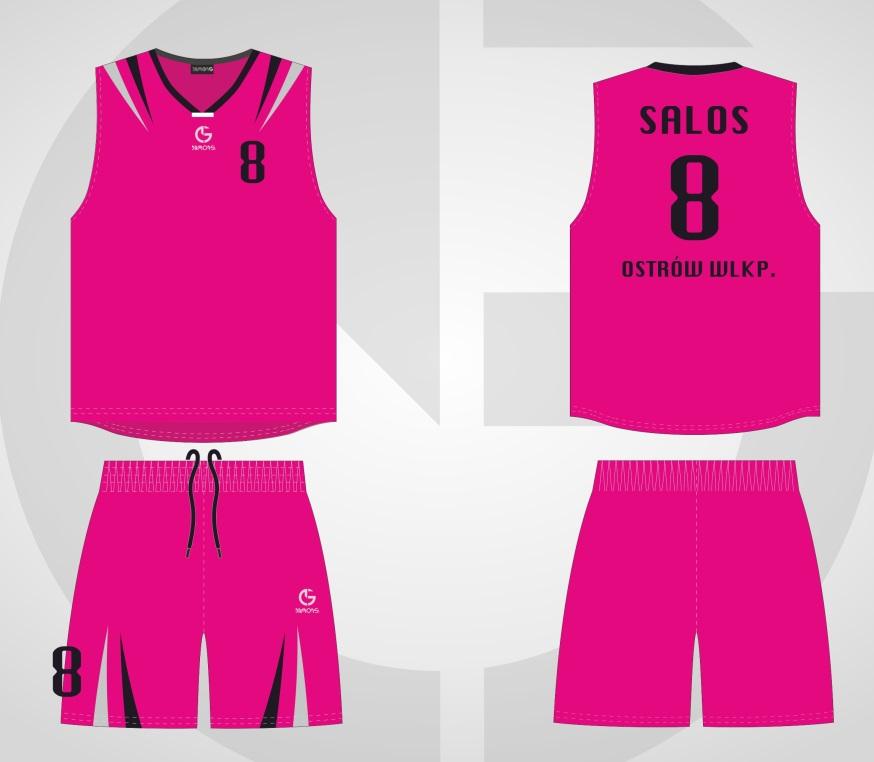 Stroje koszykarskie California Junior różowo-czarny KS WICHOŚ
