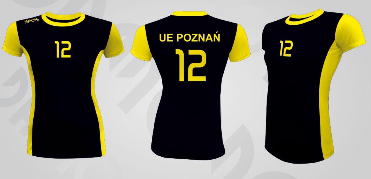 Koszulka siatkarska damska Eris czarno-żółty UE Poznań