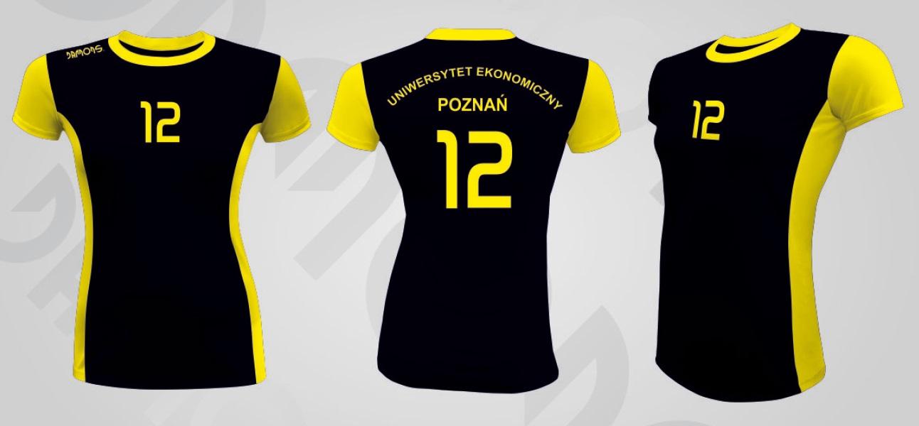 Koszulka siatkarska damska Eris czarno-zółty UE Poznań